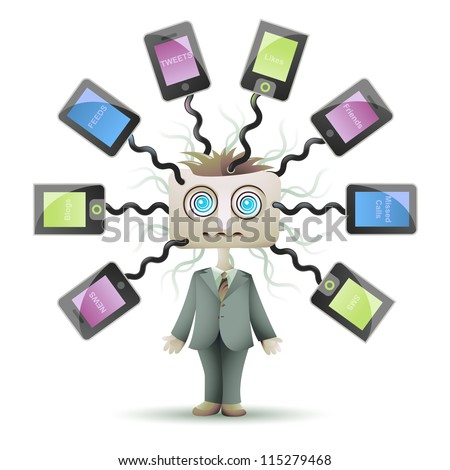 Social networking guy plugged into cyberspace - stock photo