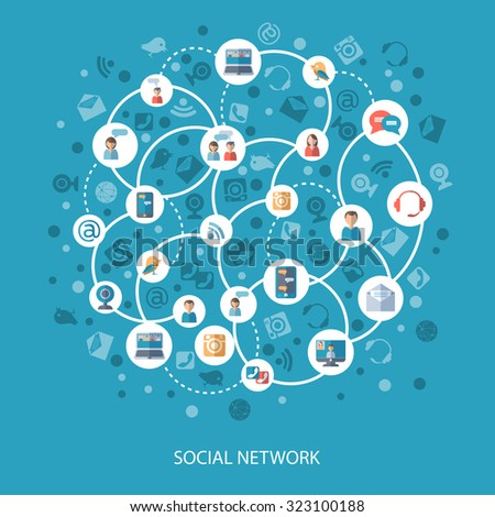 Social networks and communication connecting people online concept on blue background flat  illustration - stock photo