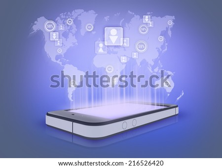 Social networks and their number in the world. projection the phone - stock photo
