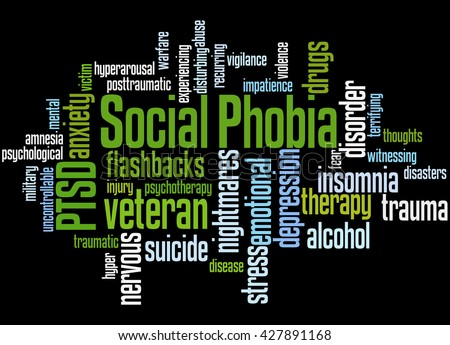 Social phobia and PTSD, word cloud concept on black background. - stock photo