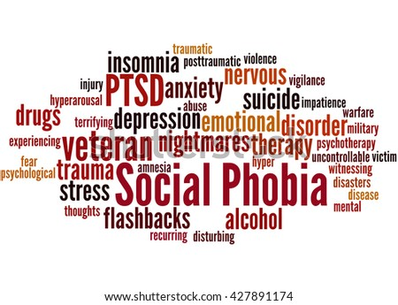 Social phobia and PTSD, word cloud concept on white background. - stock photo