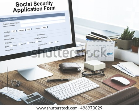Social Security Application Form Insurance Pension Stock Photo