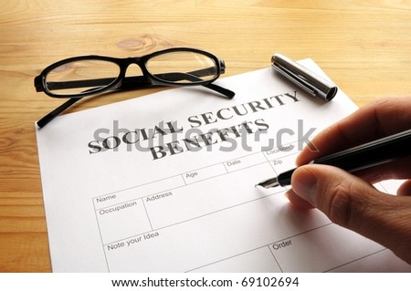 social security benefits form showing financial concept in office