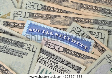 social security card and money concept - stock photo