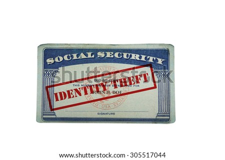 social security card with Identity Theft text, isolated on white                                - stock photo