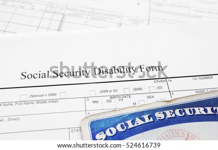 Social Security Disability Application Form Social Stock Photo