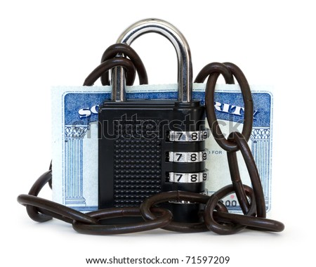 social security protected by padlock with chain - stock photo