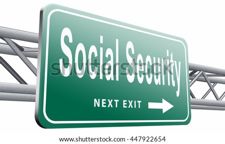 Social security services benefit plans for retirement healthcare disability and unemployment, 3D illustration, isolated on white background  - stock photo