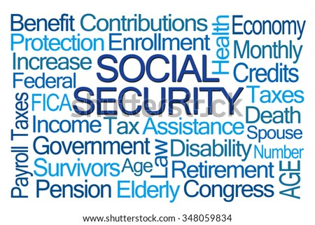 Social Security Word Cloud on White Background - stock photo