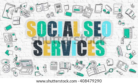 Social SEO Services - Multicolor Concept with Doodle Icons Around on White Brick Wall Background. Modern Illustration with Elements of Doodle Design Style. - stock photo
