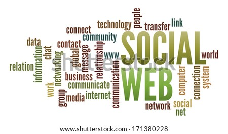 Social Web  in word collage - stock photo