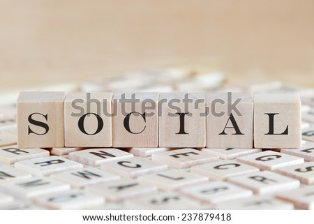 social word background on wood blocks - stock photo