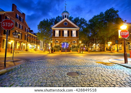 Society Hill with old streets in Philadelphia, United States - stock photo