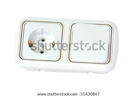 Socket and switch, isolated on a white background.