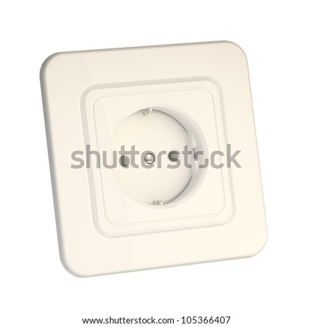 Socket isolated on white, glossy milky plastic with reflections