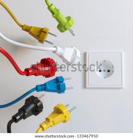 Sockets Need To Plugging In (Colorful Version) - stock photo