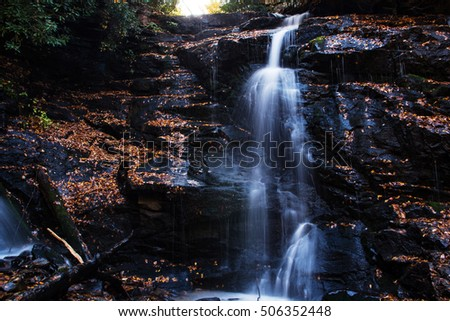 Soco Falls in Smoky Mountains National Park Tennessee and North Carolina in autumn