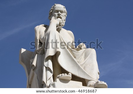 Socrates, ancient Greek philosopher, outside neoclassical Academy of Athens in Greece.