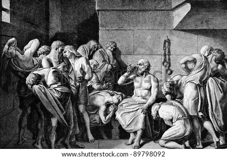Socrates Drinking The Conium. Engraved by unknown engraver and published in Pictorial History Of The Worlds Great Nations, United States, 1882. - stock photo