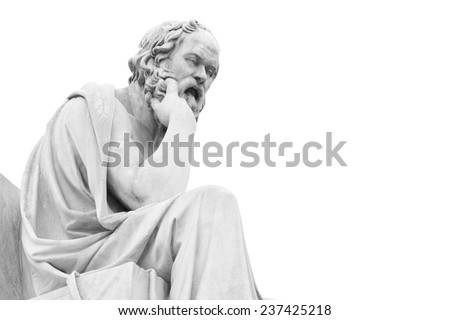 Socrates statue at Athens academy, black and white image - stock photo