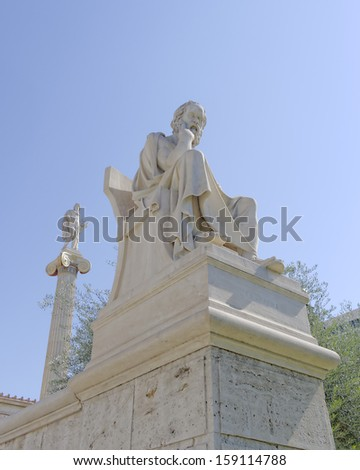 Socrates the philosopher and Apollo the god of poetry and music, Athens Greece - stock photo