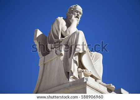 Socrates, the philosopher at the Academy of Athens, Greece. - stock photo