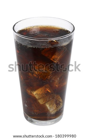 Soda beverage in clear glass on white