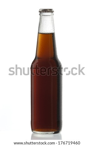Soda bottle non-alcoholic drink with water drops - stock photo