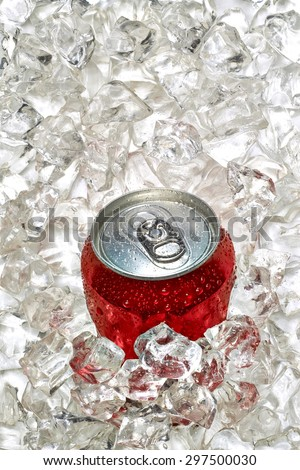 Soda can in crushed ice - stock photo