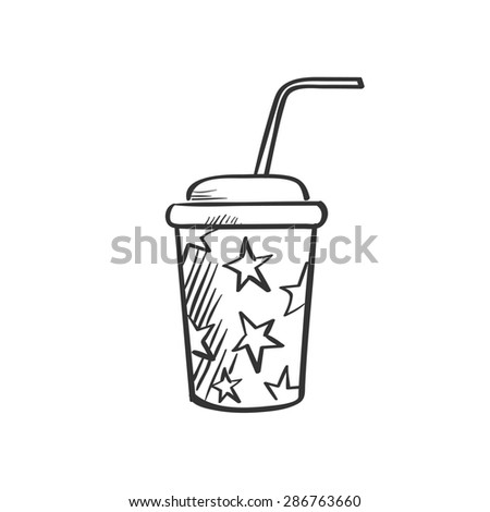 soda fountain drink doodle drawing - stock photo