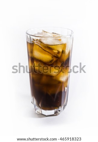 Soda. The cooled drink with ice. Cola.