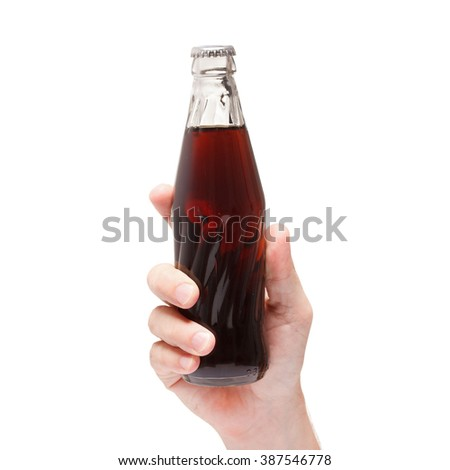 soda water bottle in hand isolated on white background - stock photo