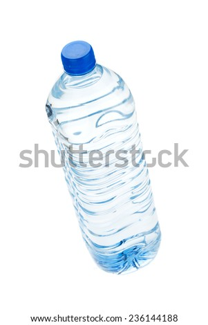 Soda water bottle. View from above. Isolated on white background - stock photo
