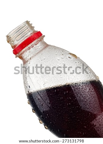 Soda water bottle with drops, close up - stock photo