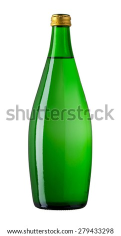 Soda water in glass bottle, isolated on white, with clipping path