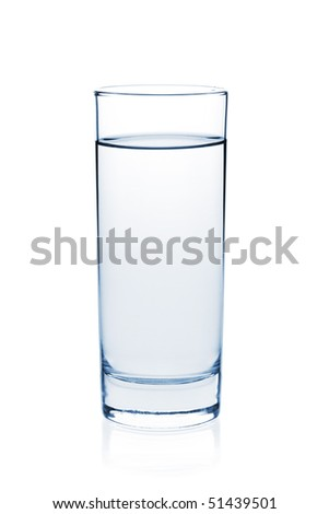 Soda water in glass. Isolated on white background - stock photo