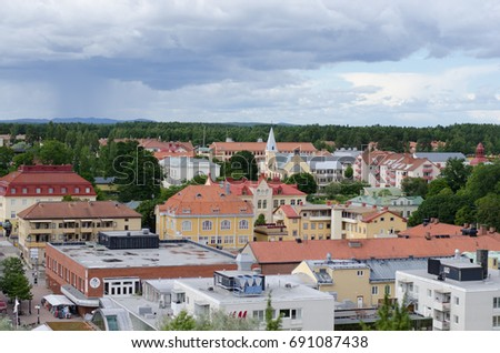 Soderhamn, Sweden - July 18 2017. View over the small town of Soderhamn between Stockholm and Sundsvall from it's observation tower, Oscarsborg.