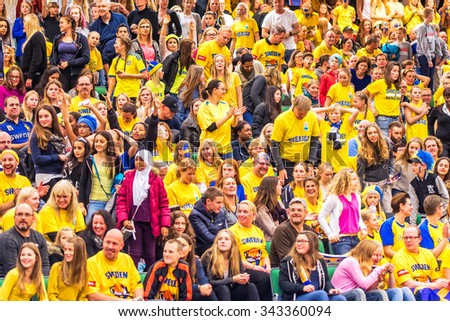 SODERTALJE, SWEDEN - NOV 21, 2015: Swedish fans at the Women European Basketball Qualifier game between Sweden and Spain at Taljehallen.