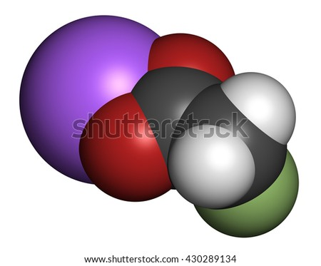 Sodium fluoroacetate pesticide (1080), chemical structure. 3D rendering. Atoms are represented as spheres with conventional color coding: hydrogen (white), carbon (grey), oxygen (red), etc - stock photo