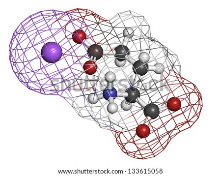 Sodium glutamate (umami flavor), molecular model. Atoms are represented as spheres with conventional color coding: hydrogen (white), carbon (grey), oxygen (red), nitrogen (blue), sodium (purple). - stock photo