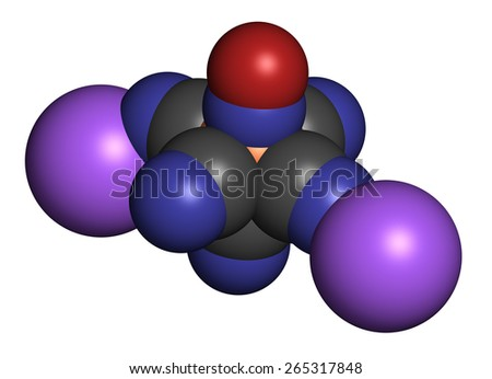 Sodium nitroprusside (SNP) antihypertensive drug molecule. Atoms are represented as spheres with conventional color coding: carbon (grey), oxygen (red), nitrogen (blue), sodium (blue), iron (orange). - stock photo