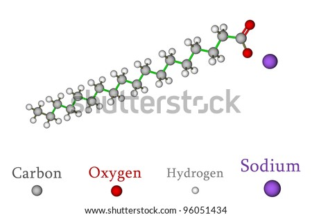 Sodium stearate, the major component of soap - stock photo