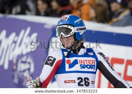 SOELDEN, AUSTRIA -OCT 25: Andrea Fischbacher AUT  competing in the womens giant slalom race at the Rettenbach Glacier Soelden Austria, the opening race of the 2008/09 Audi FIS Alpine Ski World Cup in Soelden, Austria on Oct. 25, 2008.