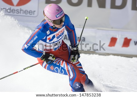 SOELDEN, AUSTRIA -OCT 25: Chemmy Alcott GBR competing in the womens giant slalom race at the Rettenbach Glacier Soelden Austria, the opening race of the 2008/09 Audi FIS Alpine Ski World Cup in Soelden, Austria on Oct. 25, 2008.  - stock photo