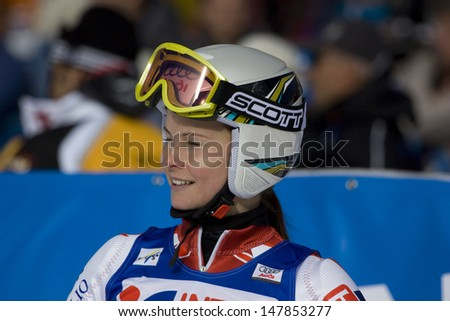 SOELDEN, AUSTRIA -OCT 25: Sanni Leinonen FIN competing in the womens giant slalom race at the Rettenbach Glacier Soelden Austria, the opening race of the 2008/09 Audi FIS Alpine Ski World Cup in Soelden, Austria on Oct. 25, 2008.