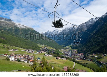 Soelden high Alps ski resort off-season, Otztal, Austria - stock photo