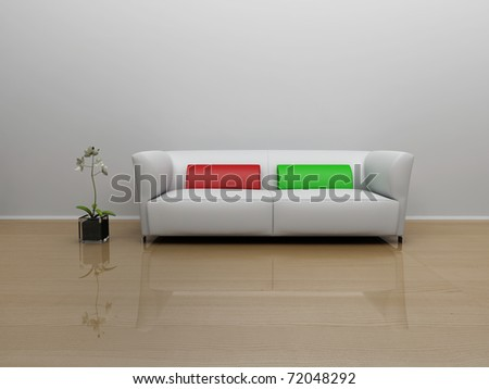sofa and a flower in the room