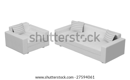 sofa and armchair on the white background (3D)