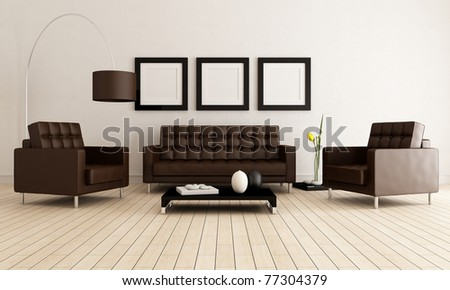 sofa and armchairs in a minimalist lounge - rendering - stock photo
