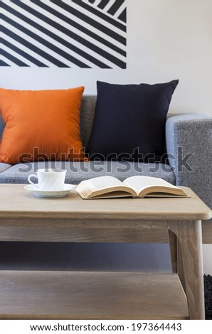 Sofa and pillows with table coffee.Modern style room interior apartment